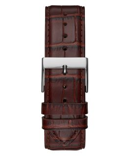 Silver Tone Case Brown Genuine Leather Watch  large