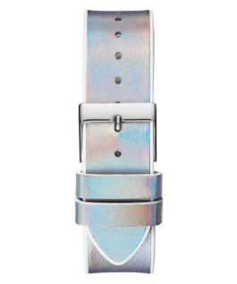 Silver Tone Case White Genuine leather/Silicone Watch  large