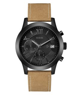 Black Case Brown Genuine Leather Watch  large