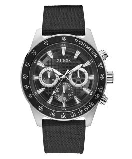 Silver Tone Case Black Nylon/Silicone Watch  large