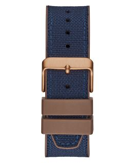 Rose Gold Tone Case Blue Nylon/Silicone Watch  large