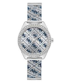 Silver Tone Case Silver Tone/Blue Mesh Watch  large