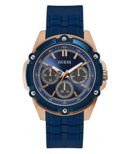 Rose Gold Tone/Blue Case Blue Silicone Watch  large