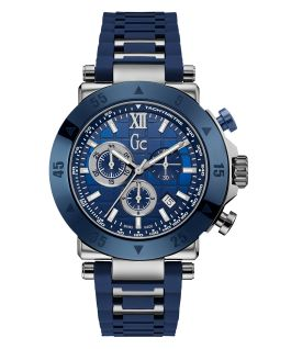 Silver & Blue Case Blue Silicone Watch  large