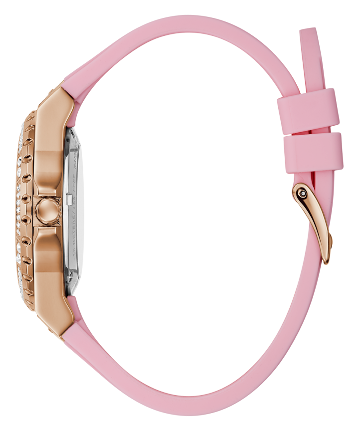 Rose Gold Tone Case Pink Silicone Watch  large