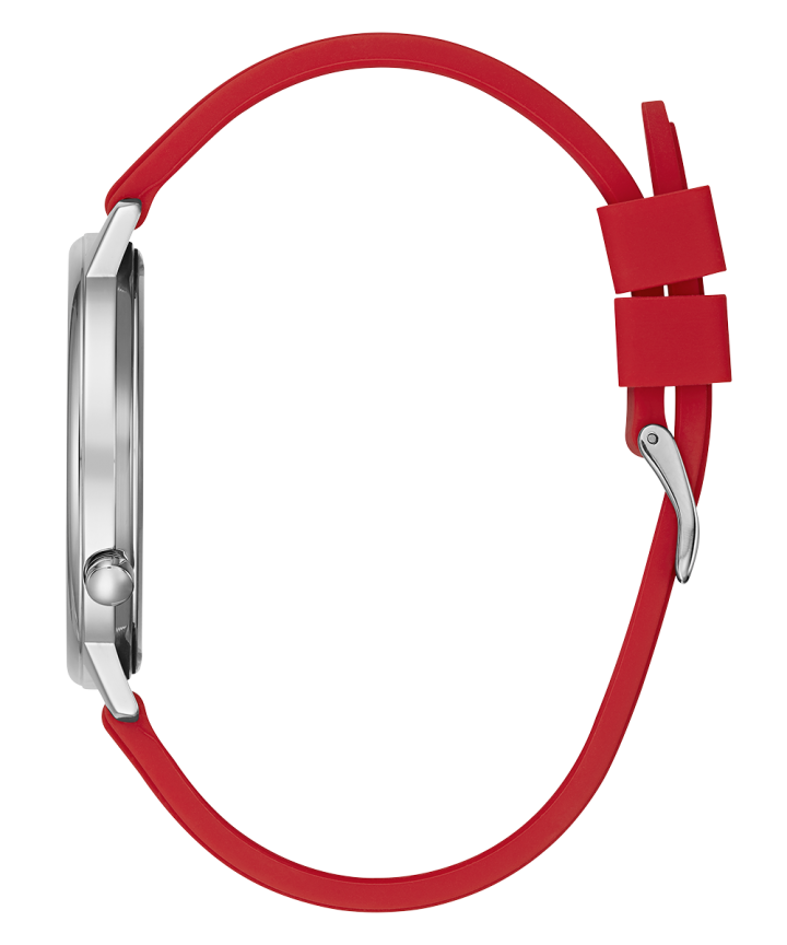 Silver Tone Case Red Silicone Watch  large