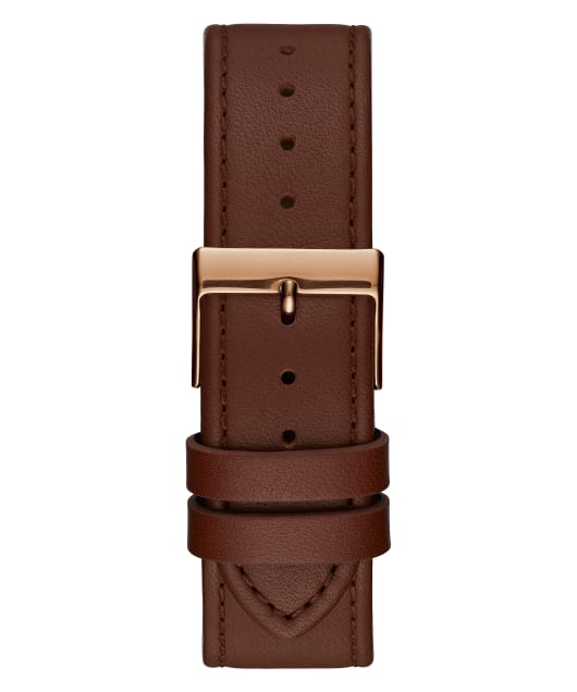 Rose Gold Tone Case Brown Genuine Leather Watch  large