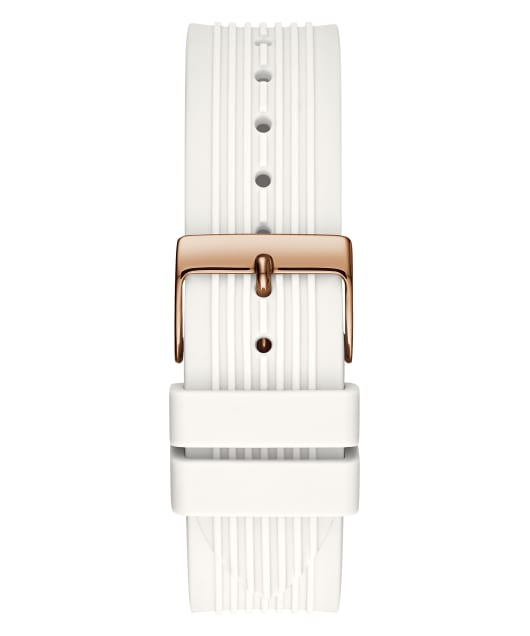 Rose Gold Tone Case White Silicone Watch  large