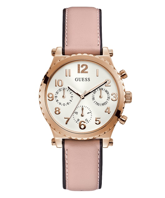 Rose Gold Tone Case Pink Genuine Leather Watch  large