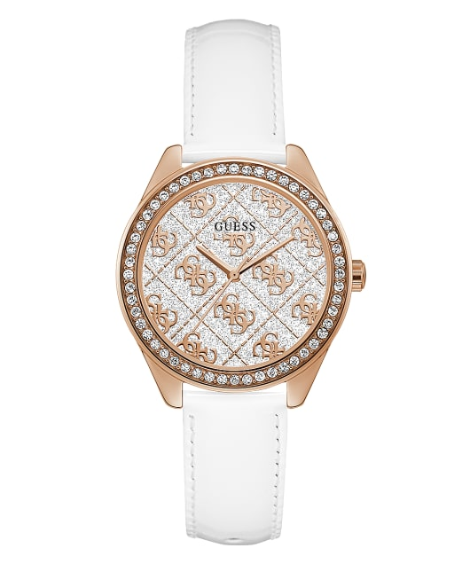 Rose Gold Tone Case White Genuine Leather Watch  large