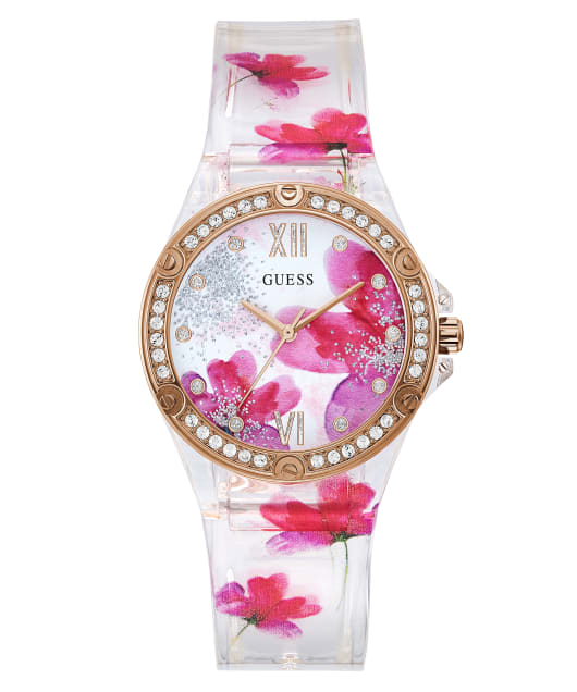 Clear Case Floral Print PU Watch  large