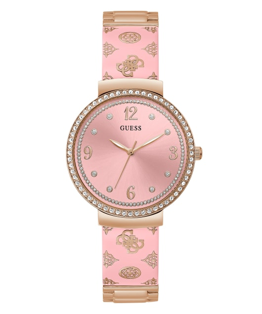 Rose Gold Tone Case Pink Resin Watch  large