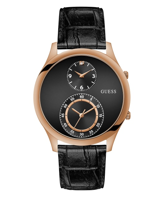 Rose Gold Tone Case Black Genuine Leather Watch  large
