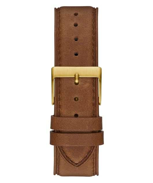 Gold Tone Case Brown Genuine Leather Watch  large