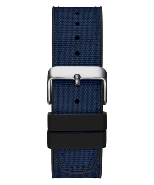 Silver Tone Case Blue Nylon/Silicone Watch  large
