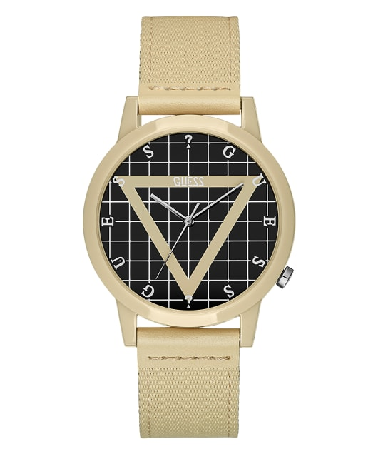 Beige Case Beige Nylon Watch  large