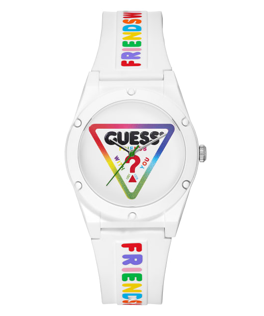 GUESSxFriendsWithYou 38mm WHITE SILICONE STRAP WATCH  large