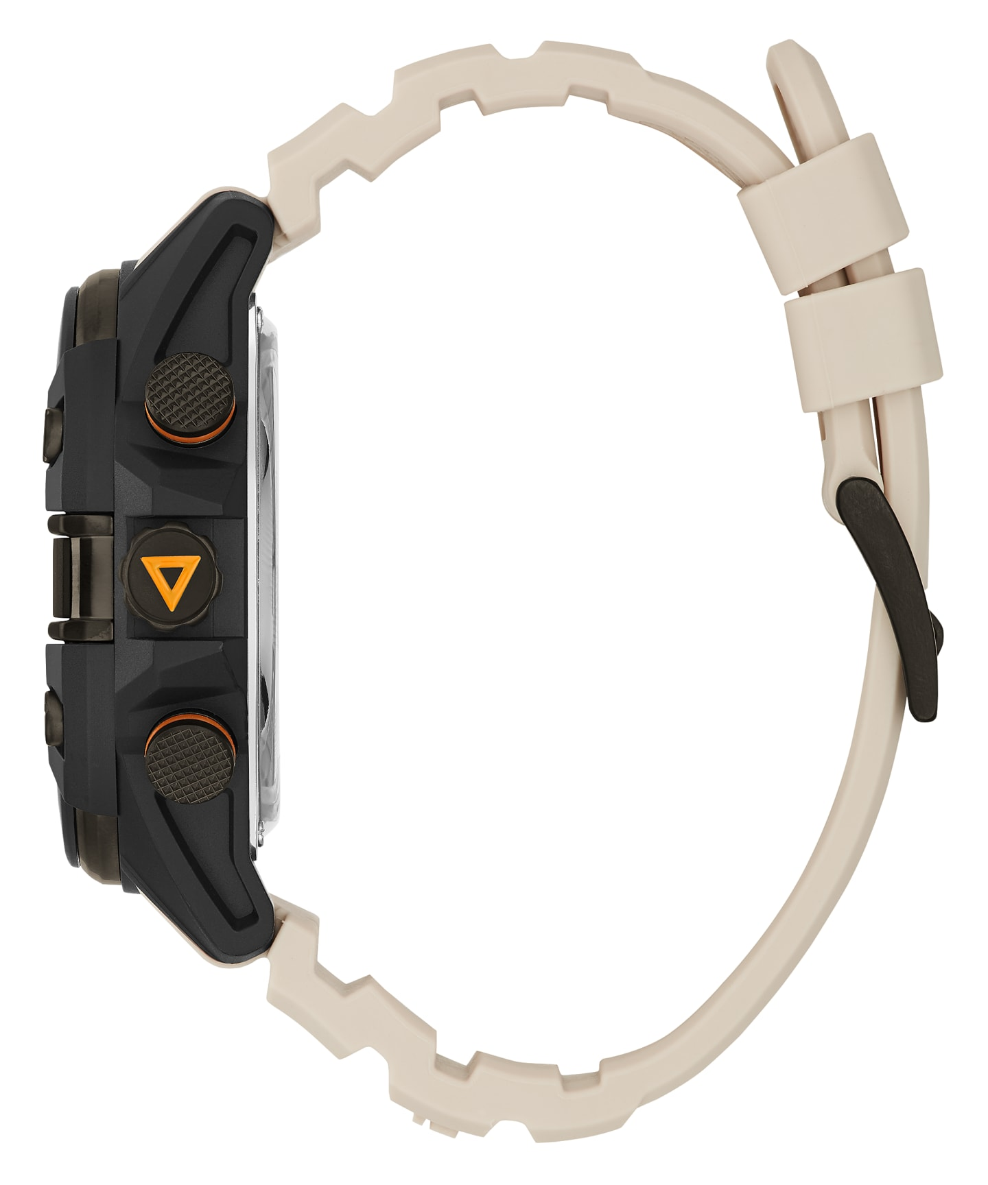 Black Case Beige Silicone Watch  large