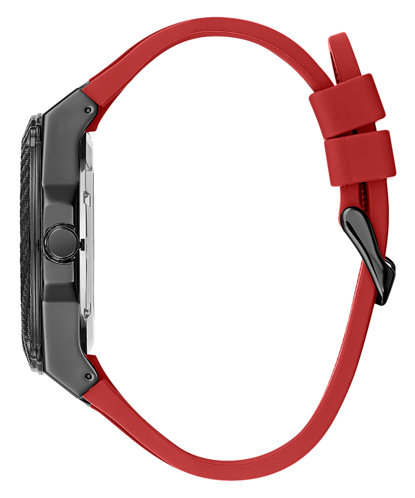 Black Case Red Silicone Watch  large