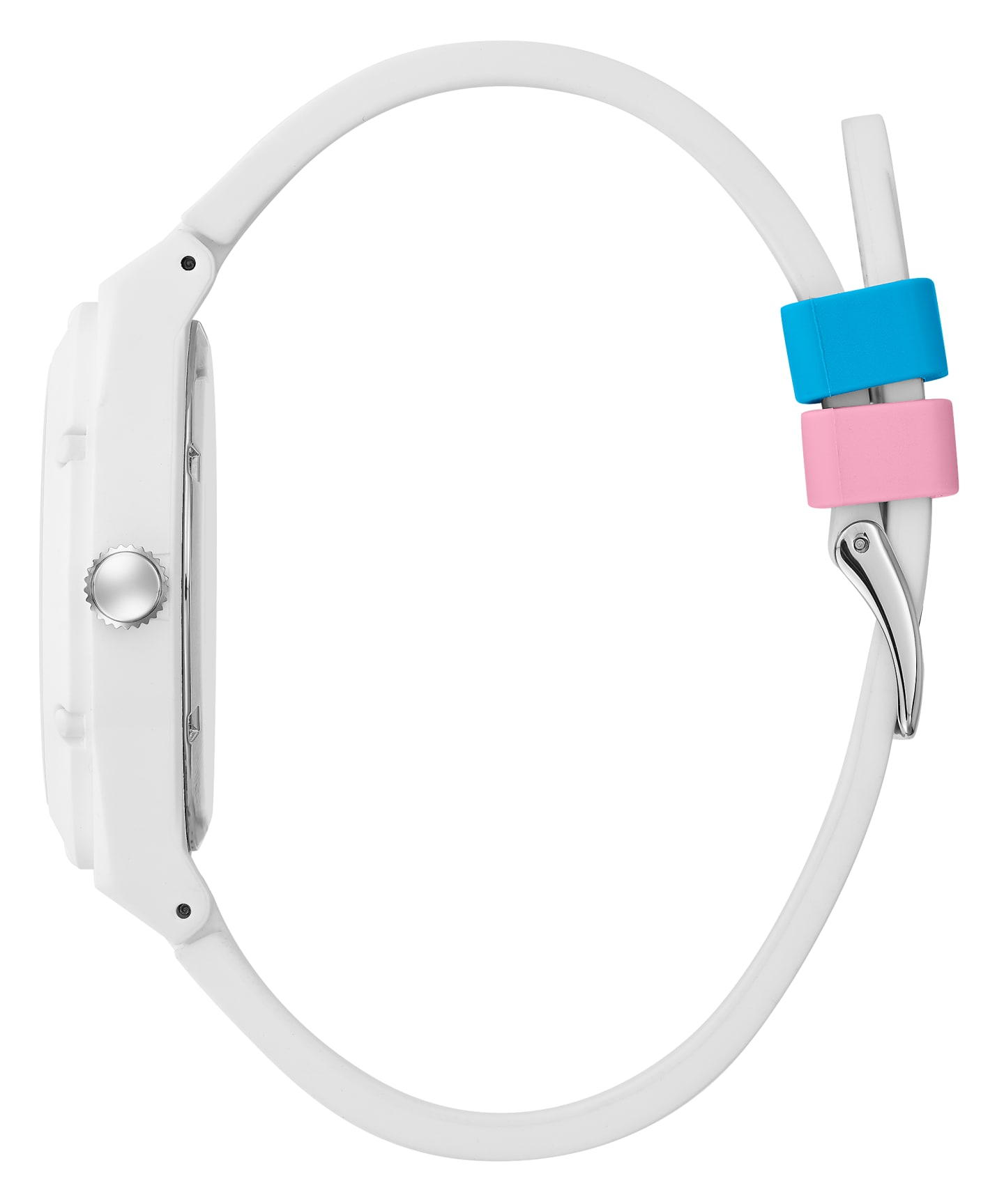 GUESSxFriendsWithYou 42mm WHITE SILICONE STRAP WATCH  large