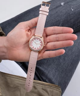 Rose Gold Tone Case Pink Genuine Leather Watch, , large