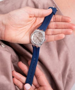 Silver Tone Case Blue Silicone Watch  large