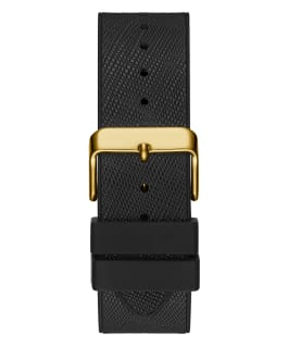 Gold Tone Case Black Genuine leather/Silicone Watch  large