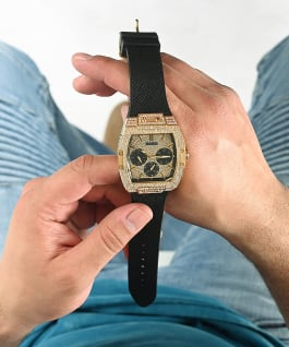 Gold Tone Case Black Genuine leather/Silicone Watch, , large
