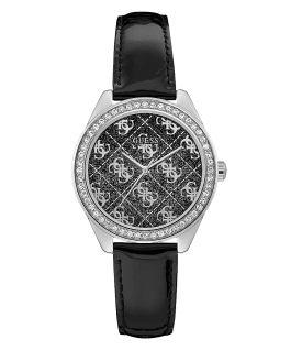 Silver Tone Case Black Genuine Leather Watch  large