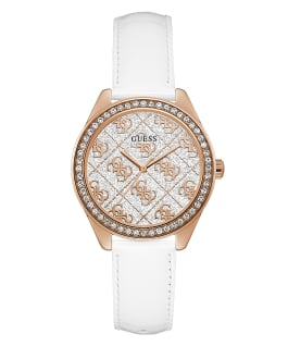Rose Gold Tone Case White Genuine Leather Watch, , large