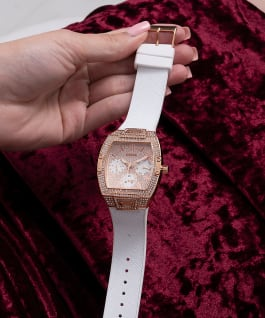 Rose Gold Tone Case White Genuine leather/Silicone Watch  large