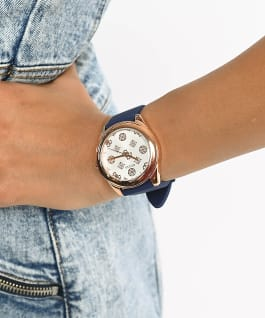 Rose Gold Tone Case Blue Silicone Watch  large