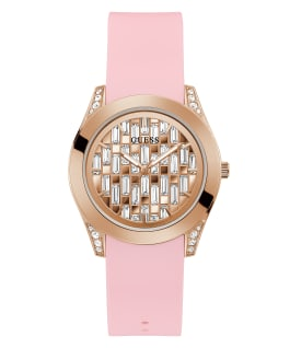 Rose Gold Tone Case Pink Silicone Watch, , large