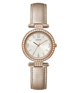 Rose Gold Tone Case Nude Genuine Leather Watch  large