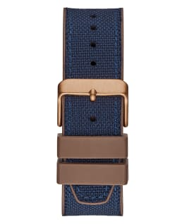 Rose Gold Tone Case Blue Nylon/Silicone Watch  large