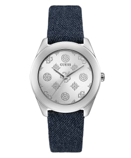 Silver Tone Case Blue Genuine Leather Watch, , large