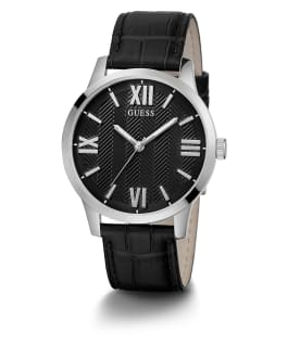 Silver Tone Case Black Genuine Leather Watch, , large