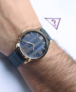 Rose Gold Tone Case Blue Genuine Leather Watch, , large