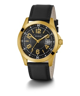 Gold Tone Case Black Genuine Leather Watch, , large