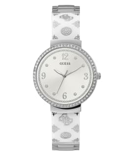 Silver Tone Case White Resin Watch, , large