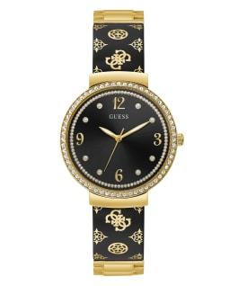Gold Tone Case Black Resin Watch, , large