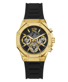 Gold Tone Case Black Silicone Watch, , large