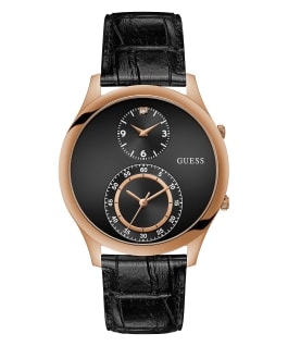 Rose Gold Tone Case Black Genuine Leather Watch, , large