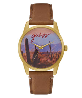 Gold Tone Case Brown Genuine Leather Watch, , large