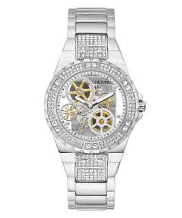 Silver Tone Case Silver Tone Stainless Steel Watch, , large