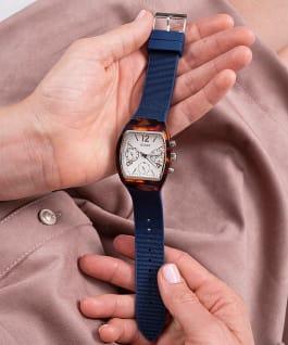Tortoise Look Case Blue Nylon/Silicone Watch  large