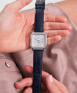 Silver Tone Case Navy Genuine Leather Watch  large