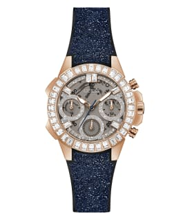 Rose Gold Tone Case Navy Silicone Watch, , large