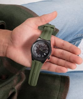 Black Case Green Silicone Watch  large