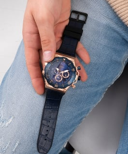 Rose Gold Tone Case Blue Genuine leather/Silicone Watch, , large
